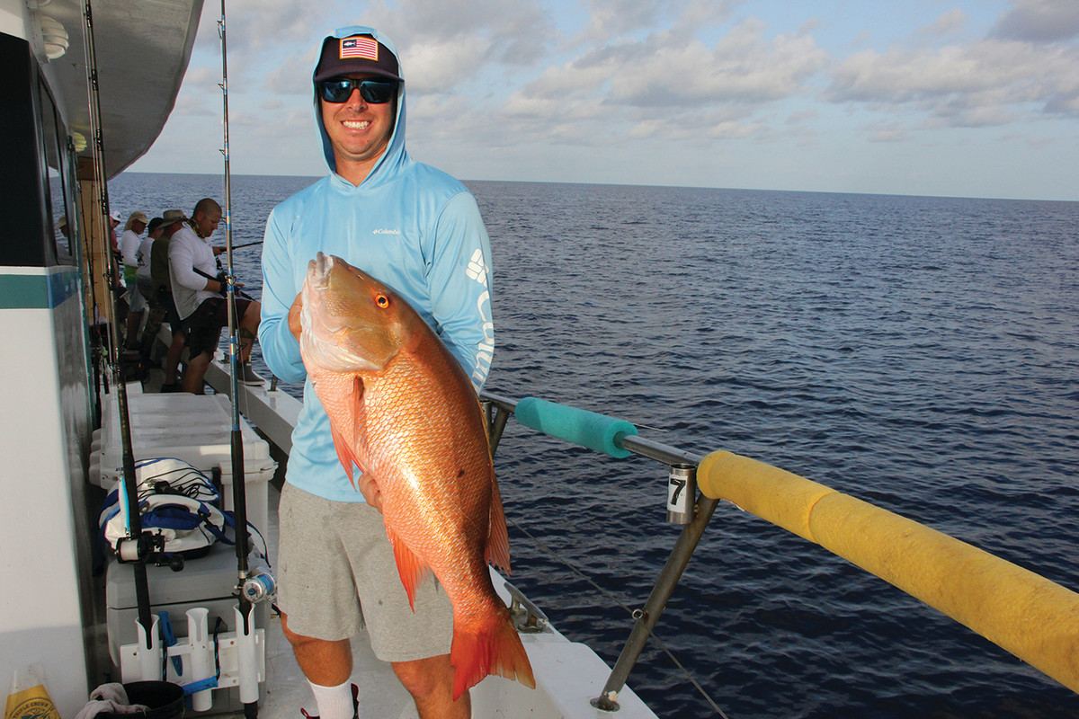 Relief captain Austin Collins landed a whopper of a mutton snapper.