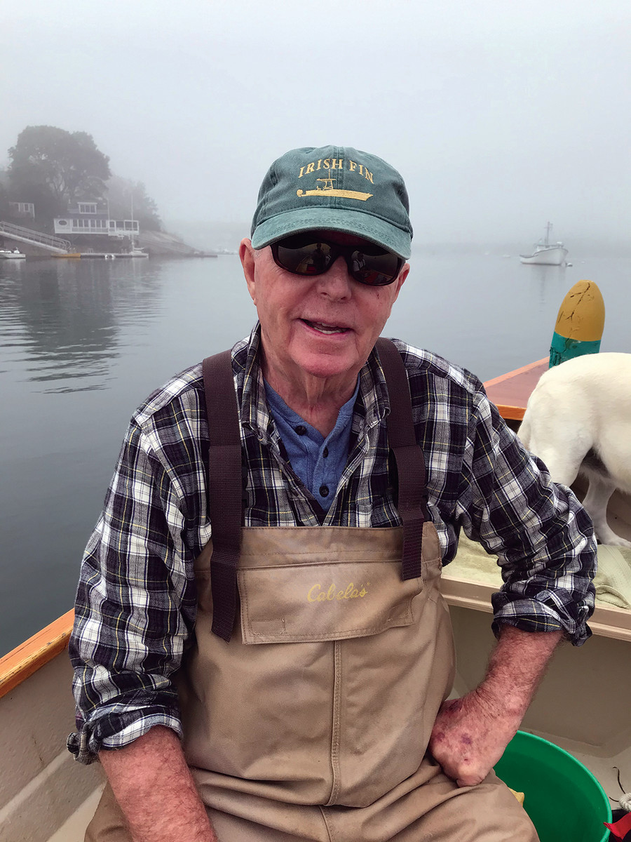 """Pete Shea also owns a Stur-Dee Amesbury dory, which he uses to pull lobster pots in the Gloucester area. """"It's a great life being on the water,"""" he says."""