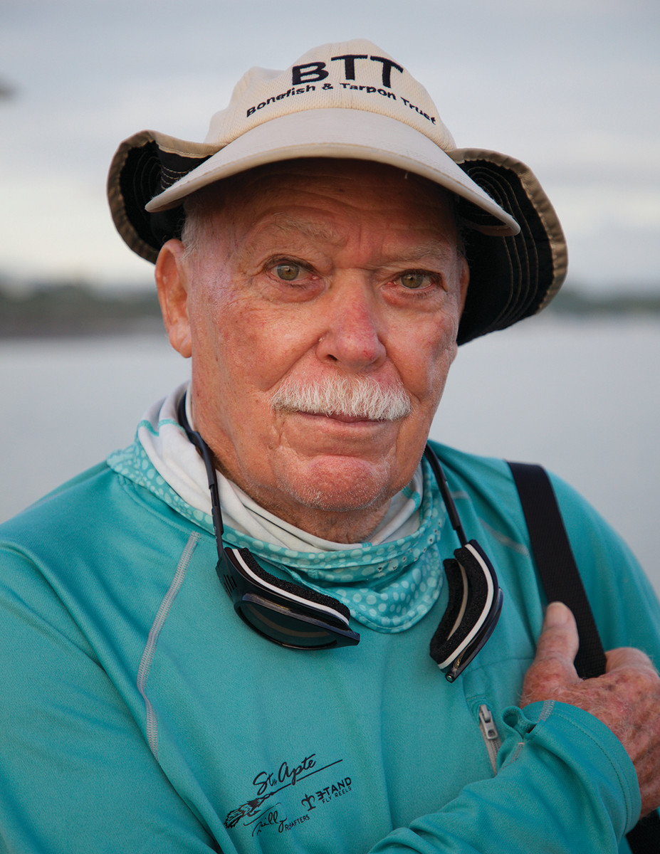 Sporting his signature mustache, Apte, now 90, pioneered fly-fishing for tarpon, one of the most coveted fly rod species.