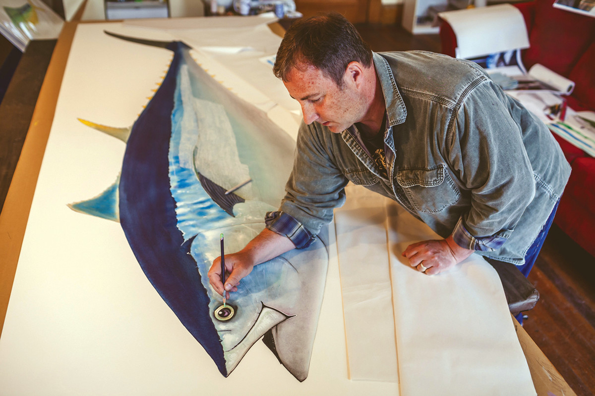 Mayer spends 40 hours sketching and another 90 hours or more painting large pieces, such as this bluefin tuna.