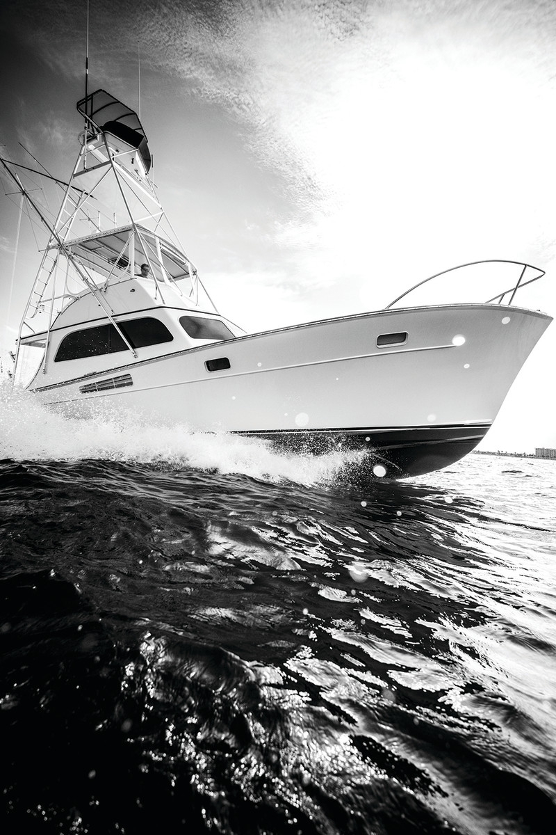 Capt. Wade Richardson sea-trialing Picaflor's new power plants.