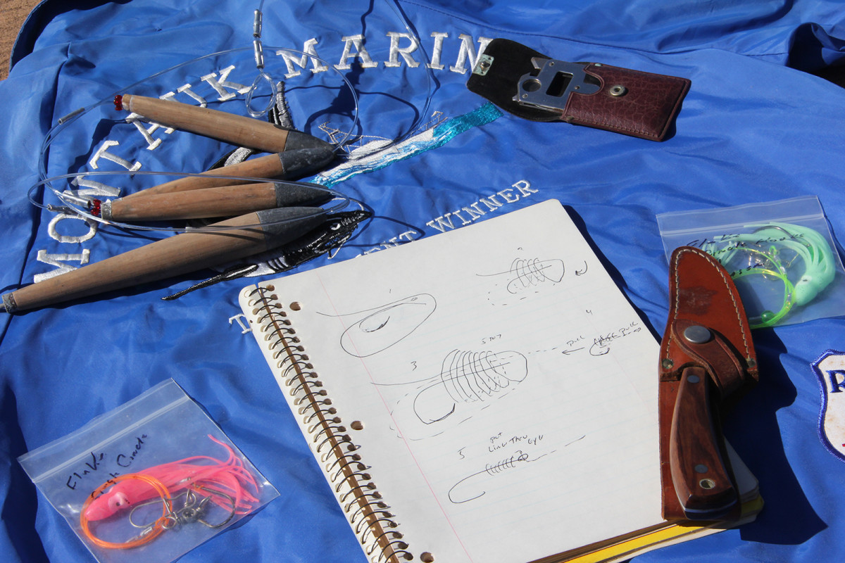 The desk was filled with the items that defined the author's stepfather: fishing gear, notebooks, lures and much more.