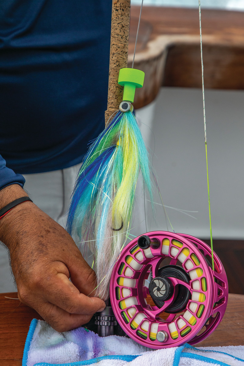 Pat Ford and Rufus Wakeman fished Nautilus Monster reels and Cam Sigler flies. With 20-pound tippet and minimal drag (less than 2 pounds) when the fish started greyhounding.