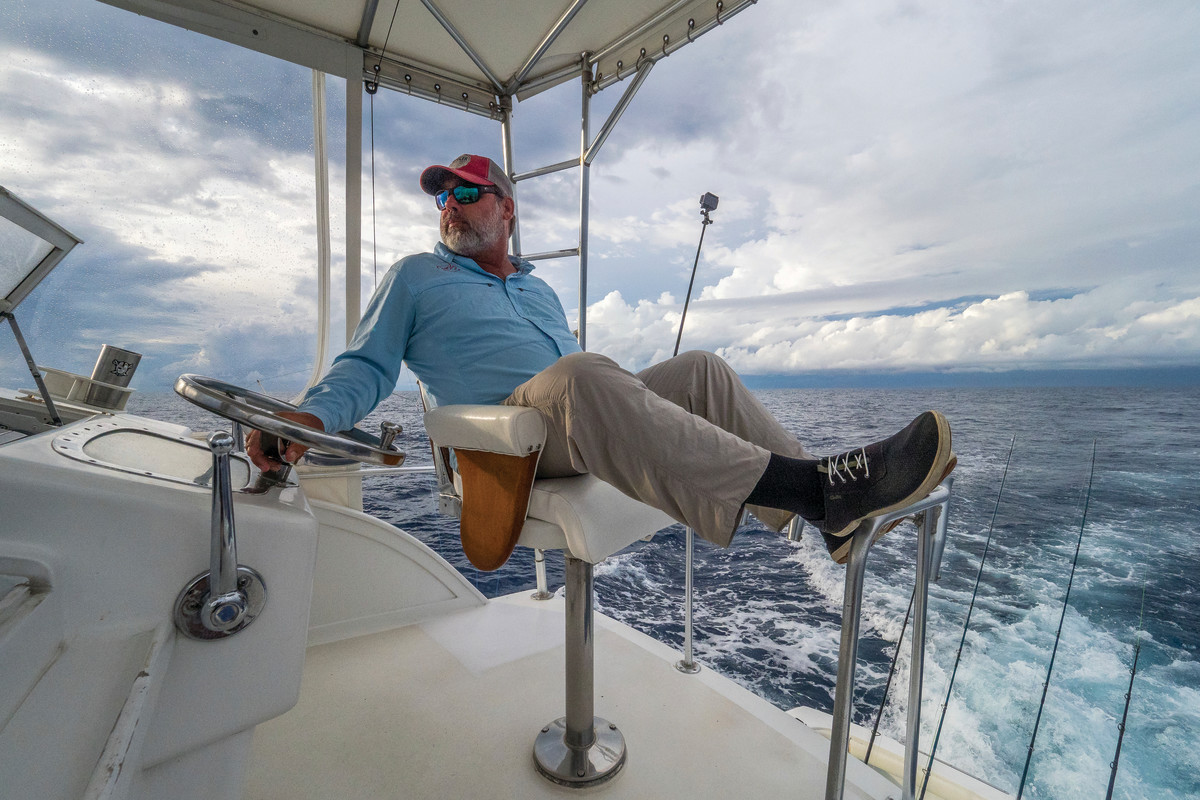 Capt. Chris Sheeder eases back aboard Tuna Trappe.