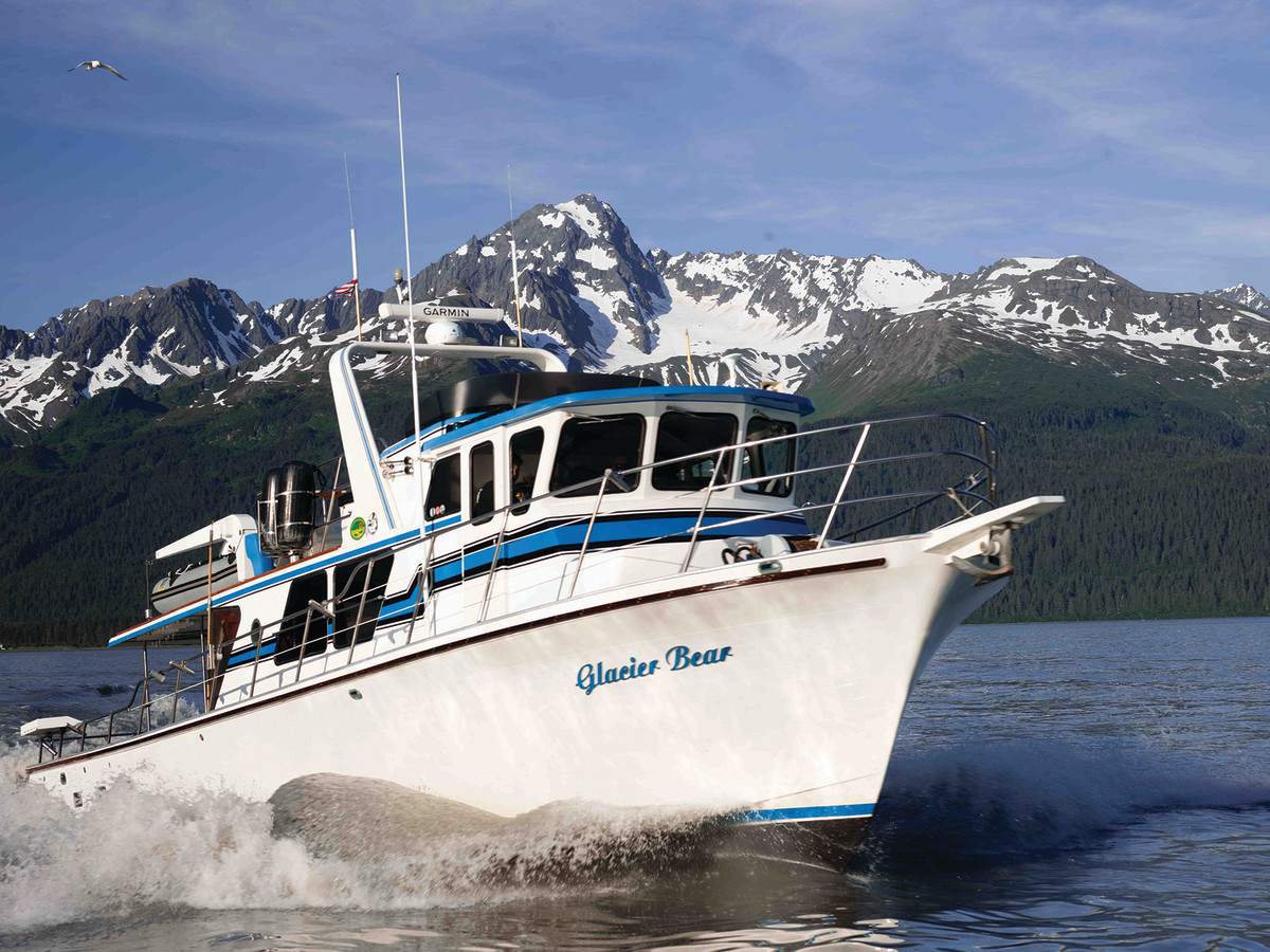 Glacier Bear runs for the grounds, where anglers will chase large halibut for three days.