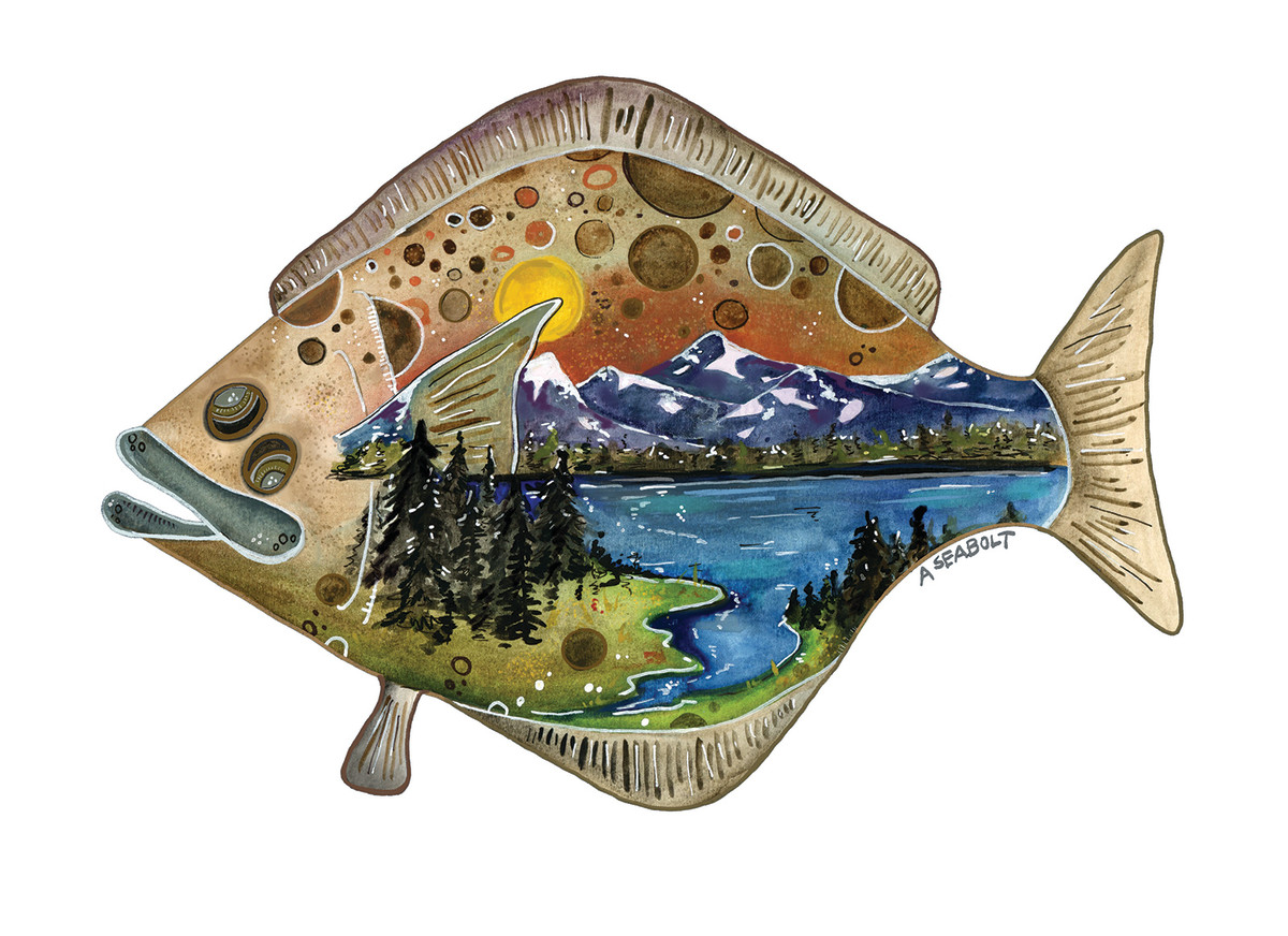 The halibut's thick back has the patterns of galaxies and the landscape of America sewn in. I can see the contours of family farms, hamlets and maps of rural areas. (Ashley Seabolt painted this interpretation of the author's vision.)