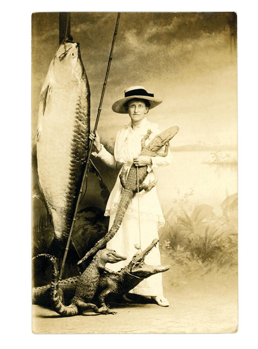 A postcard from about 1910 from a shoot at a freak fish studio.