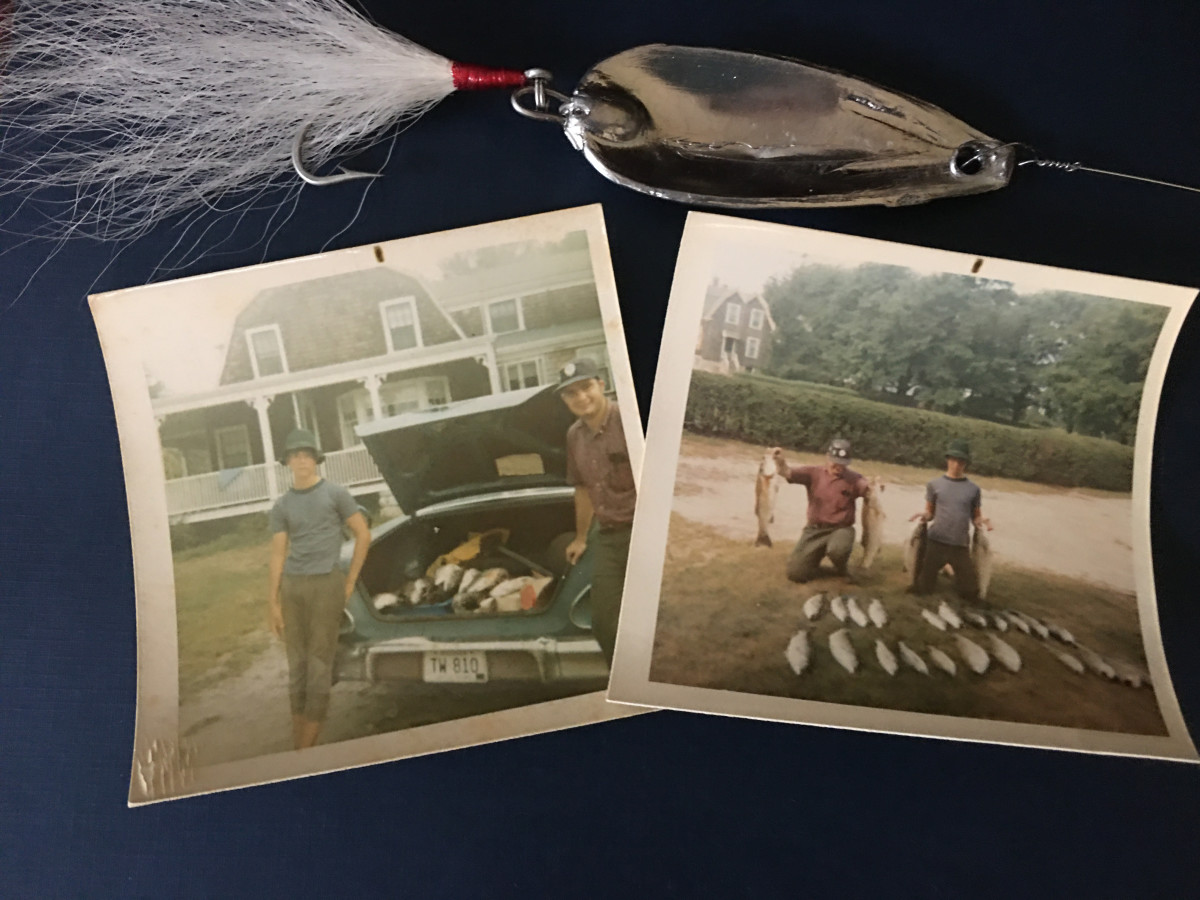 Remants from days gone: a block tin jig and snapshots of a good day on the water.