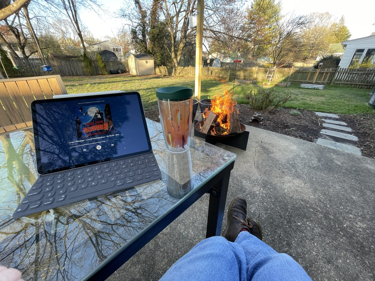 Frank Zappa, gin and patio fire pits were a frequent pandemic tonic.