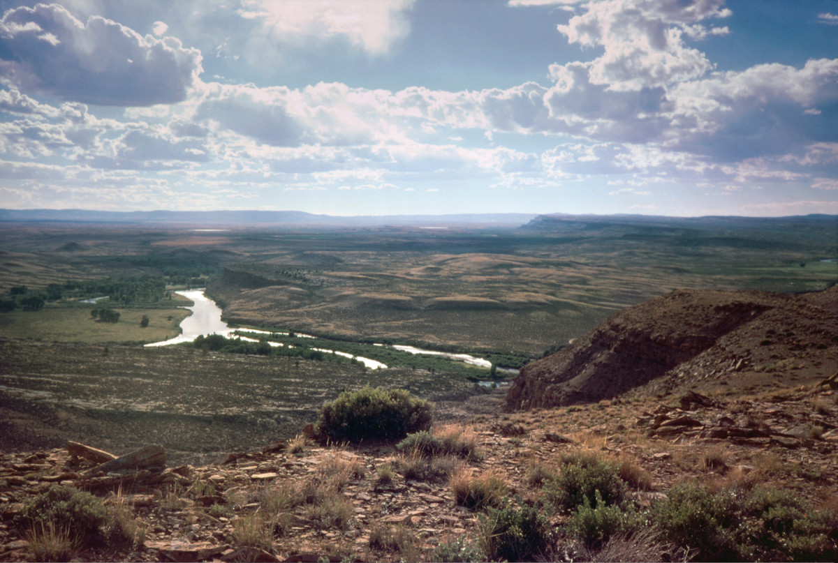 Looking south, the North Platte River undulates north through a small section of the vast Bolton Ranch.