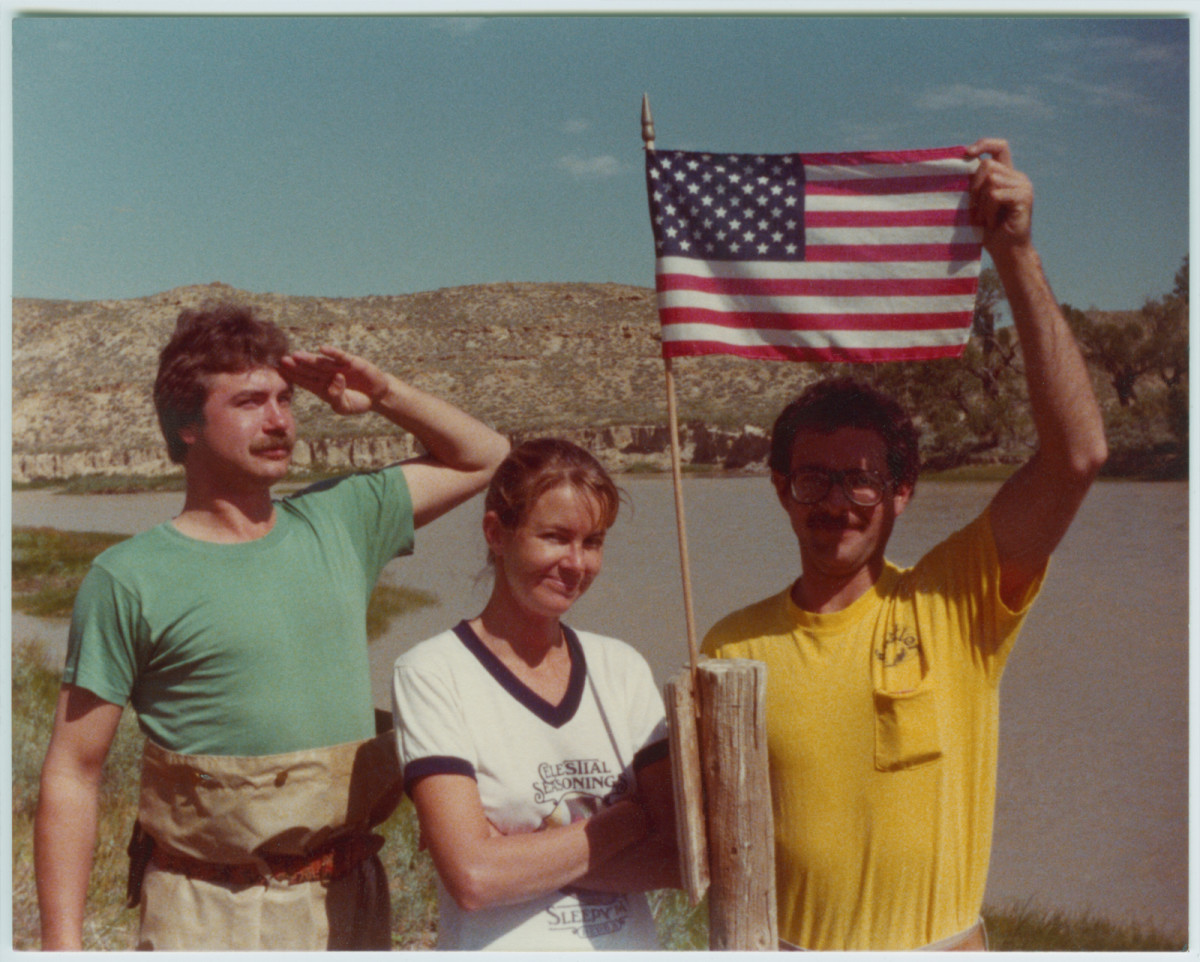 The hippie-dippy crew celebrates Fourth of July, a tradition at the ranch: Coz (left), Leigh and Dr. P.