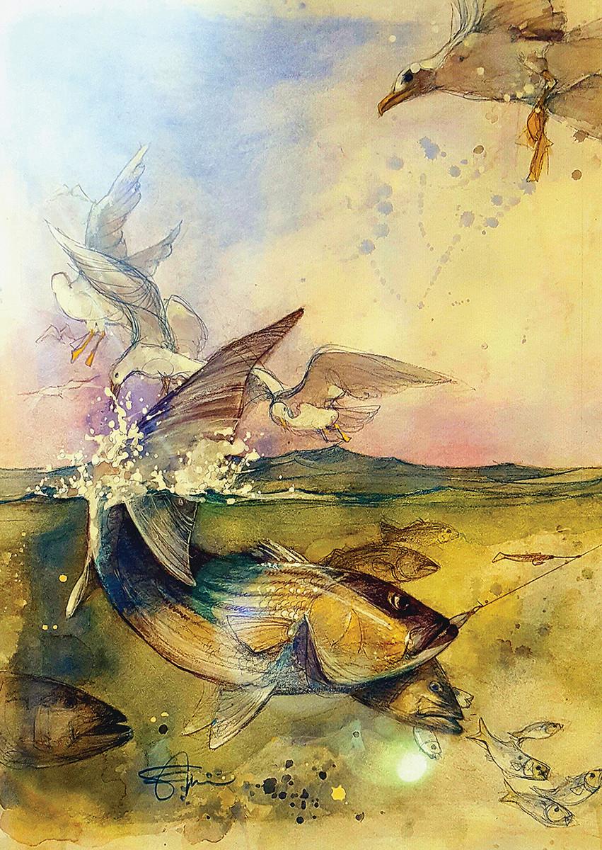 "Bass, birds and bait createa ruckus in ""Off the Beach."""